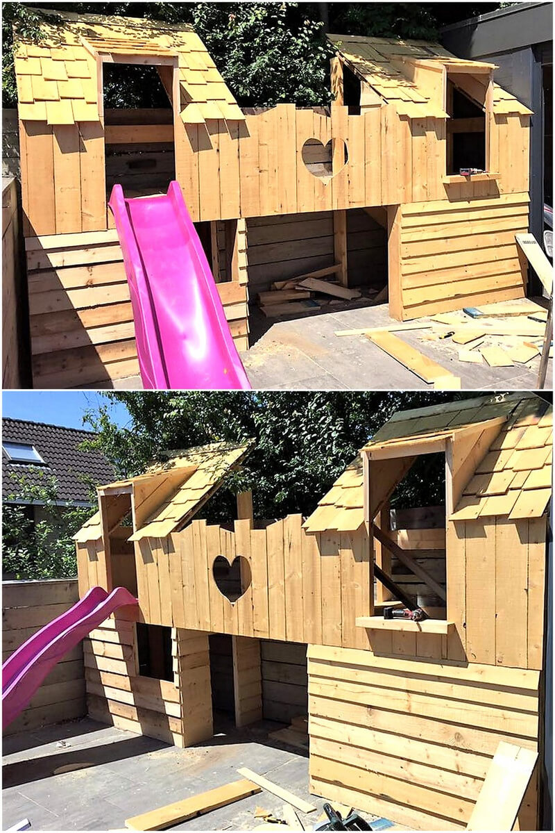 kids playhouse made with pallets