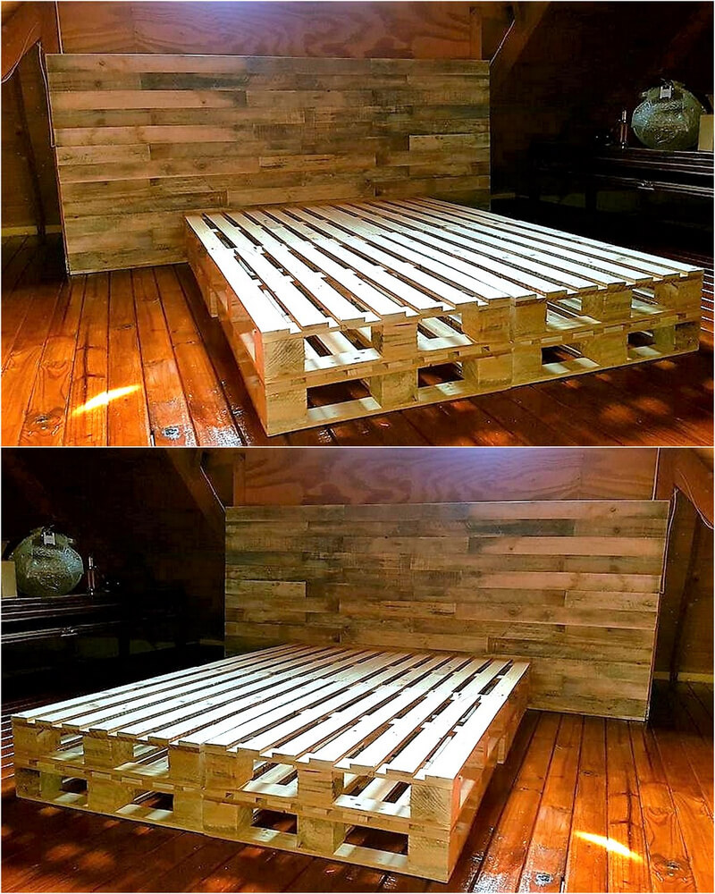 pallets bed frame with headboard
