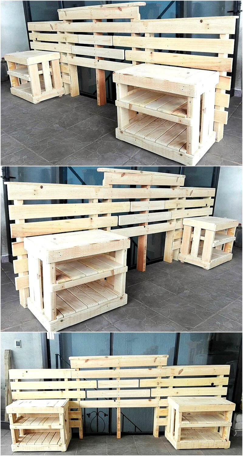 pallets bed headboard and side tables