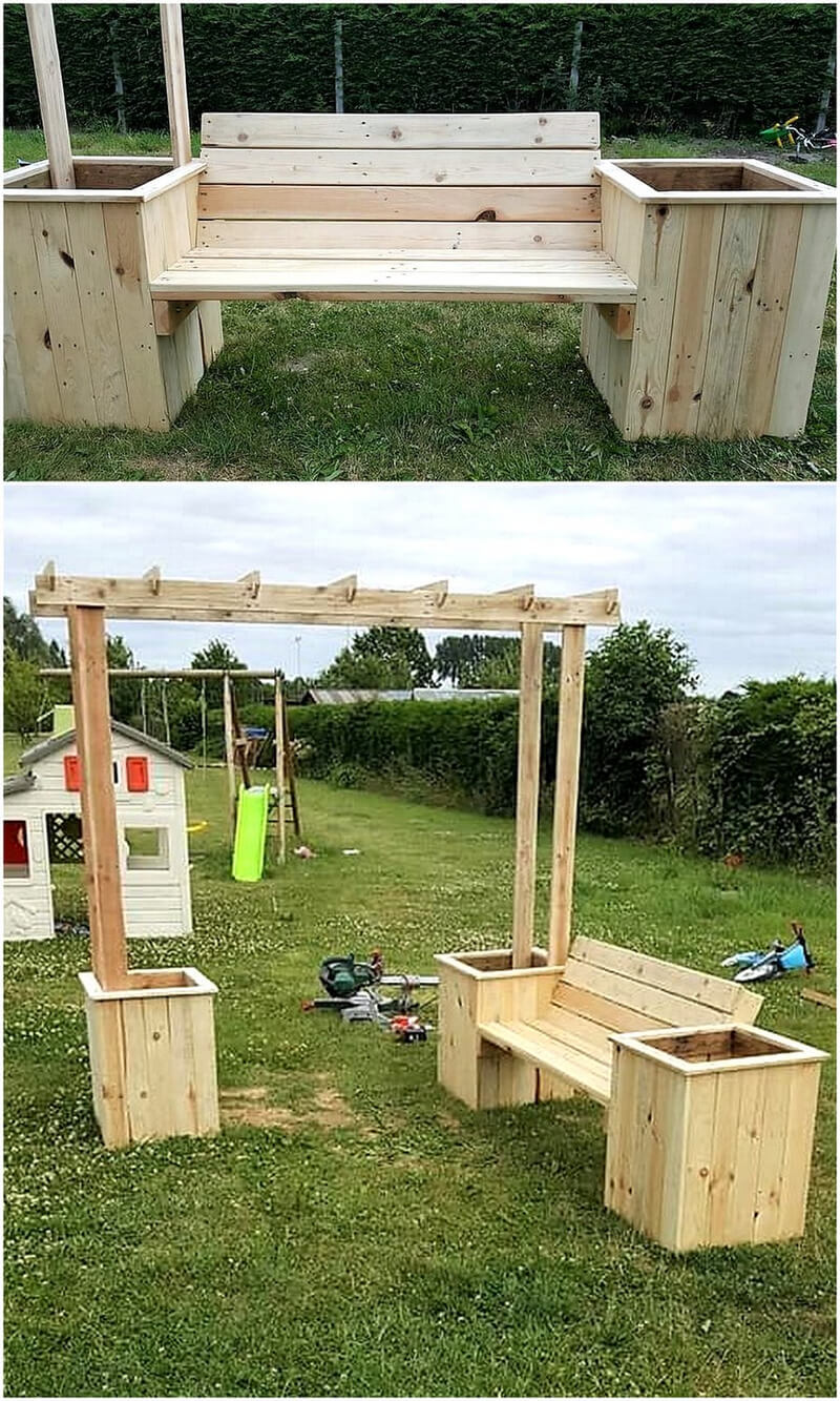 pallets bench with attached planters