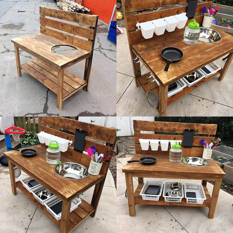 pallets made kids mud kitchen