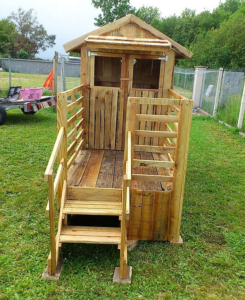 pallets made kids play cabin