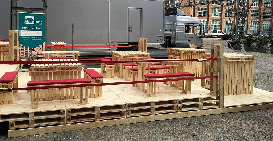 pallets made outdoor terrace