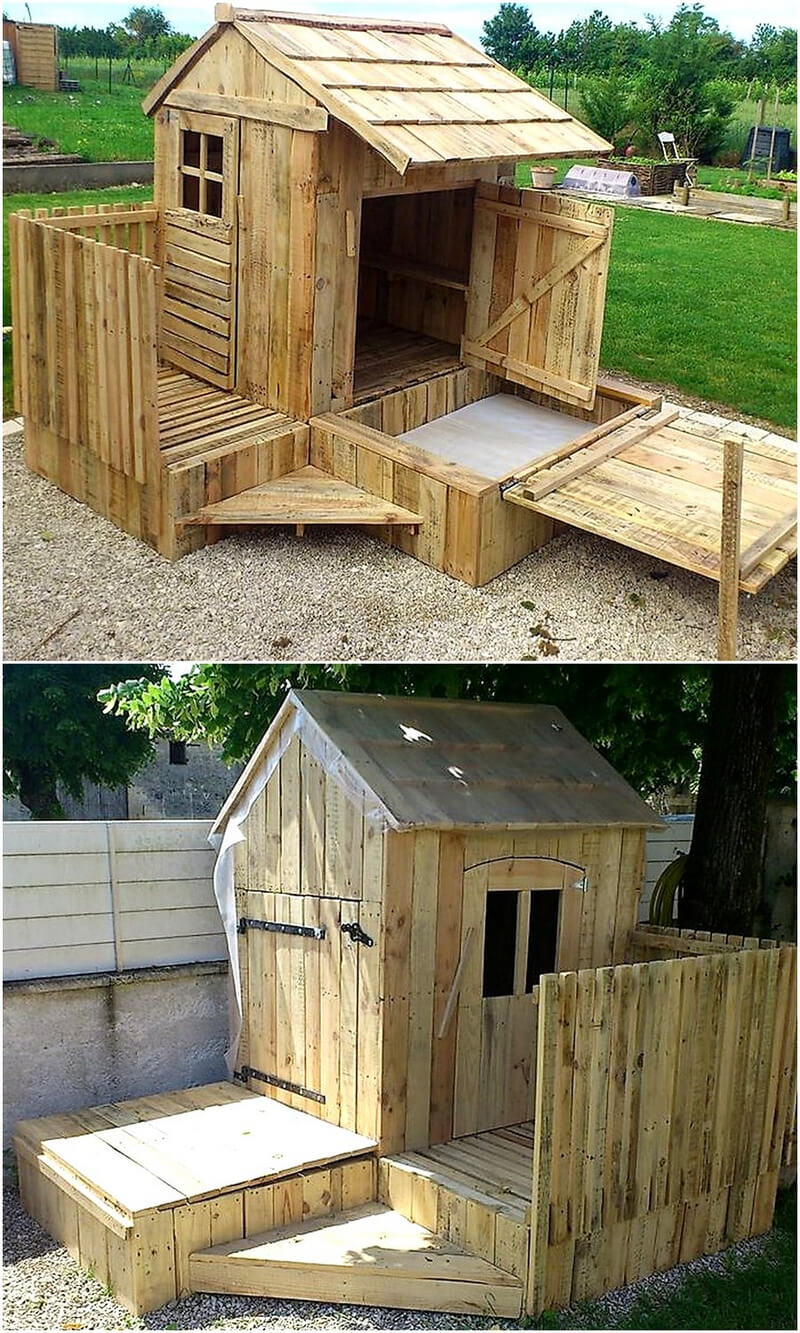 pallets made patio garden cabin
