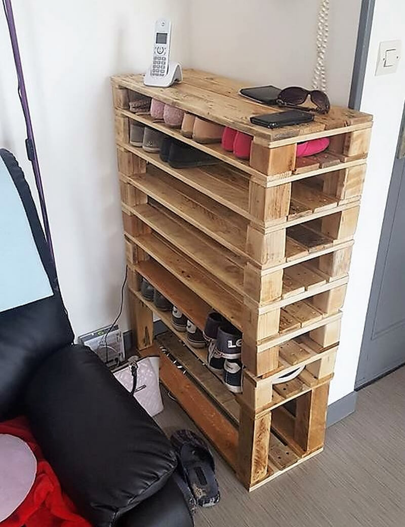 Unique pallets wooden reusing ideas and plans wood for Shoe rack made from pallets
