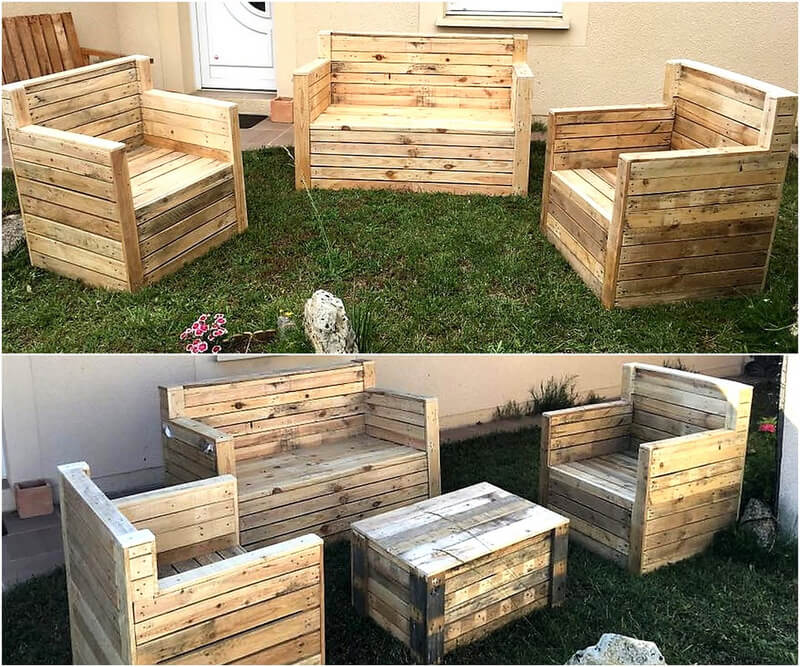 pallets patio couch set