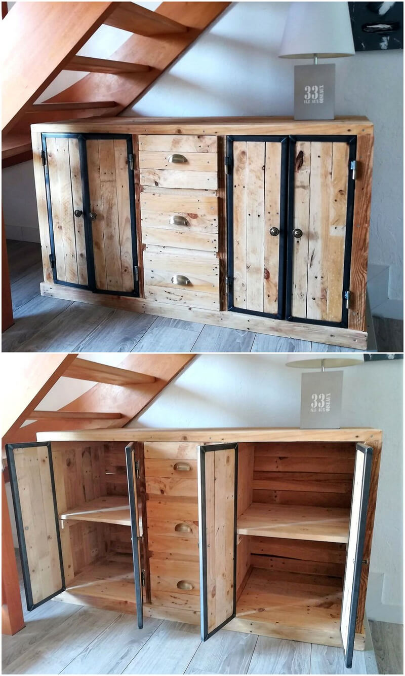 pallets storage cabinet under stairs
