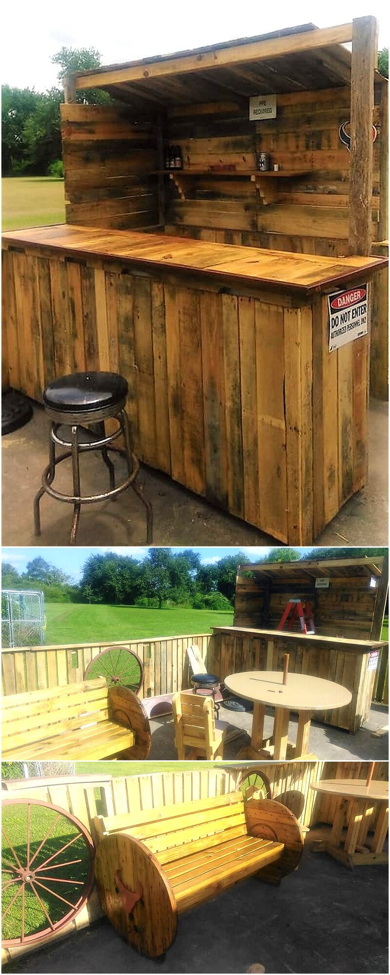 pallets wood patio yard bar