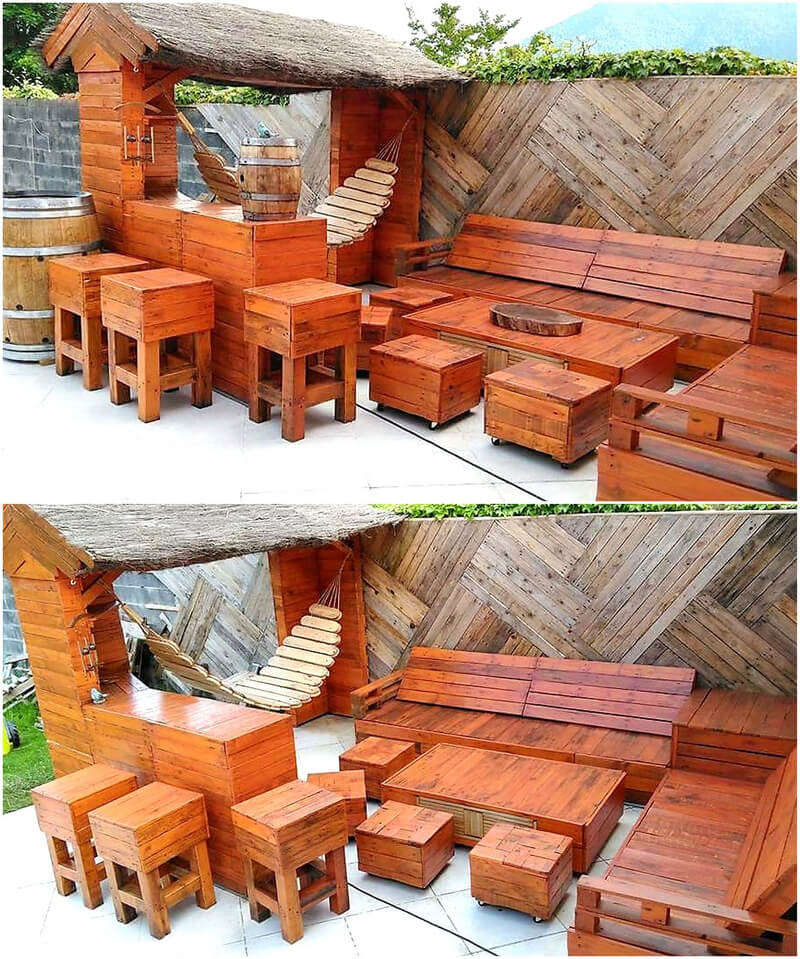 pallets wooden bar with furniture