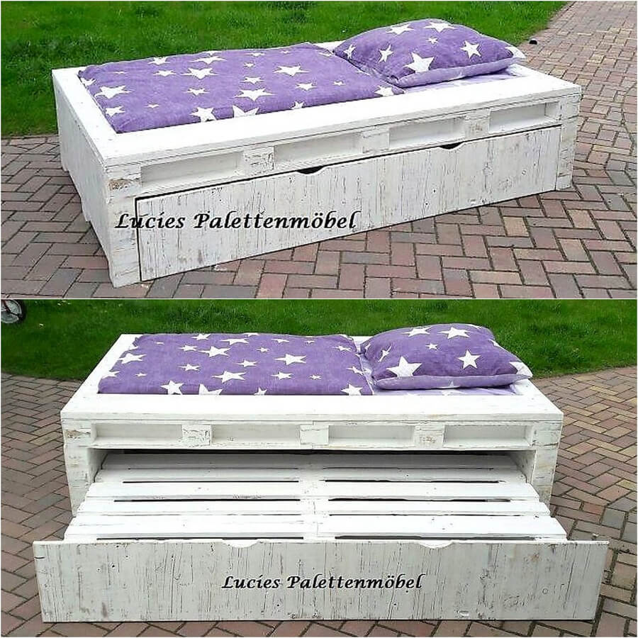 pallets wooden bed idea