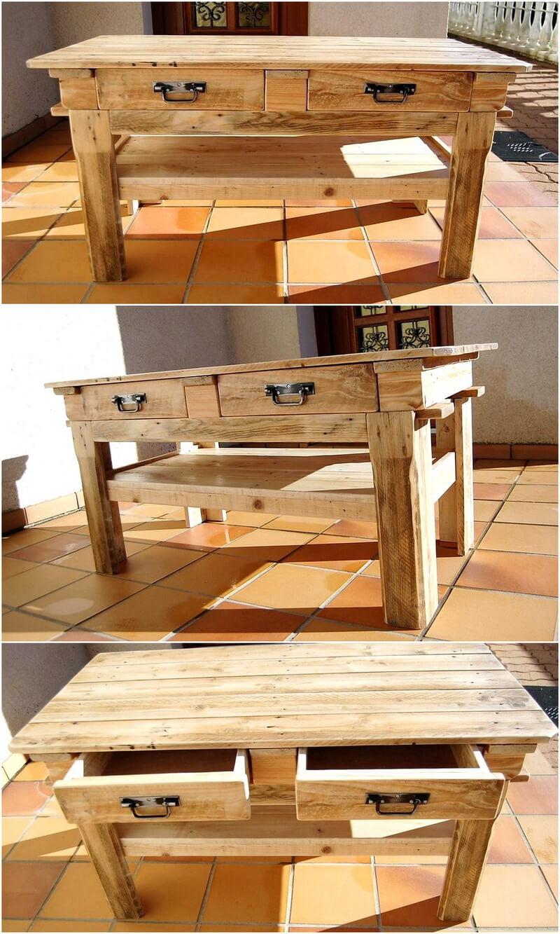 pallets wooden entryway table idea