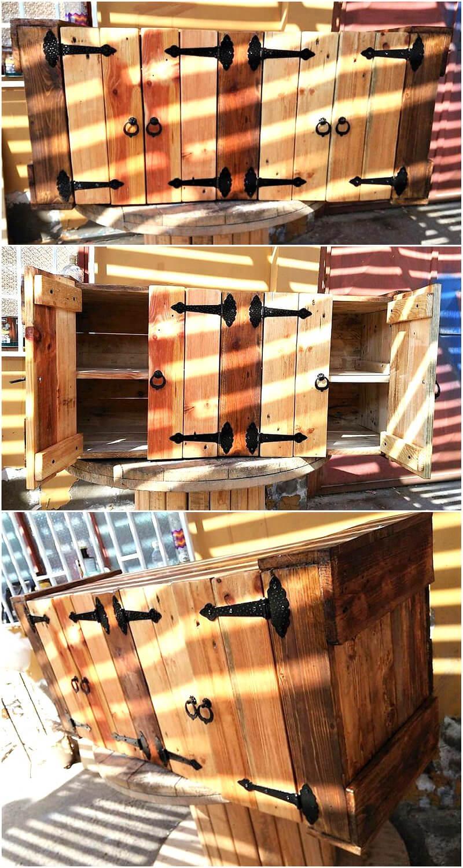 pallets wooden kitchen storage cabinet