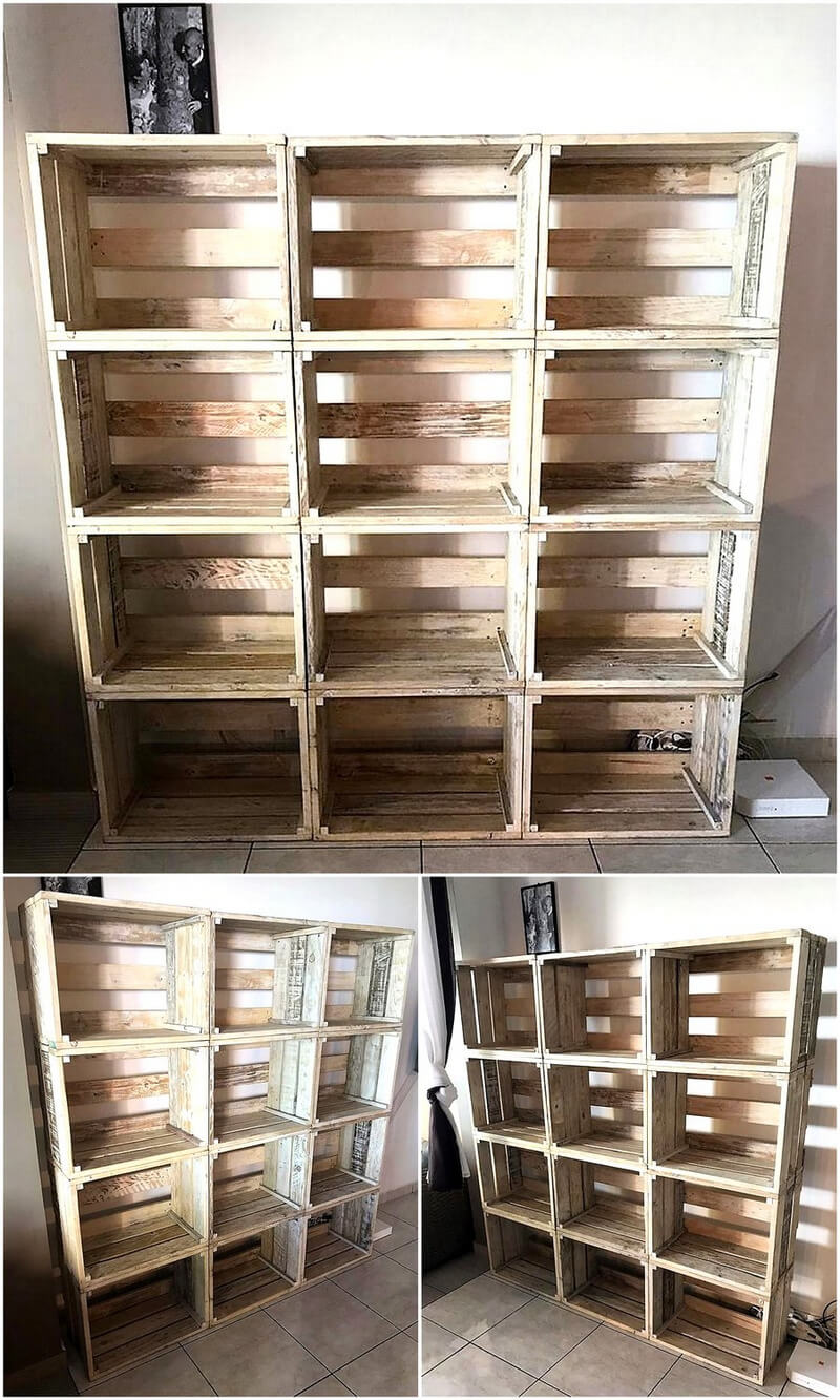 pallets wooden shelving cabinet