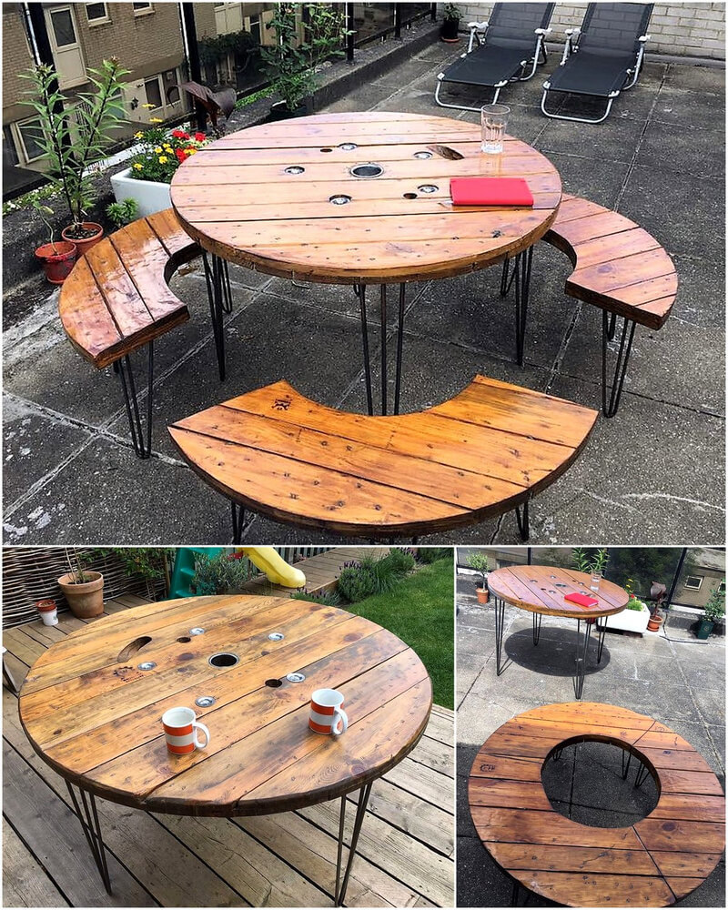 reclaimed pallets cable spool patio furniture