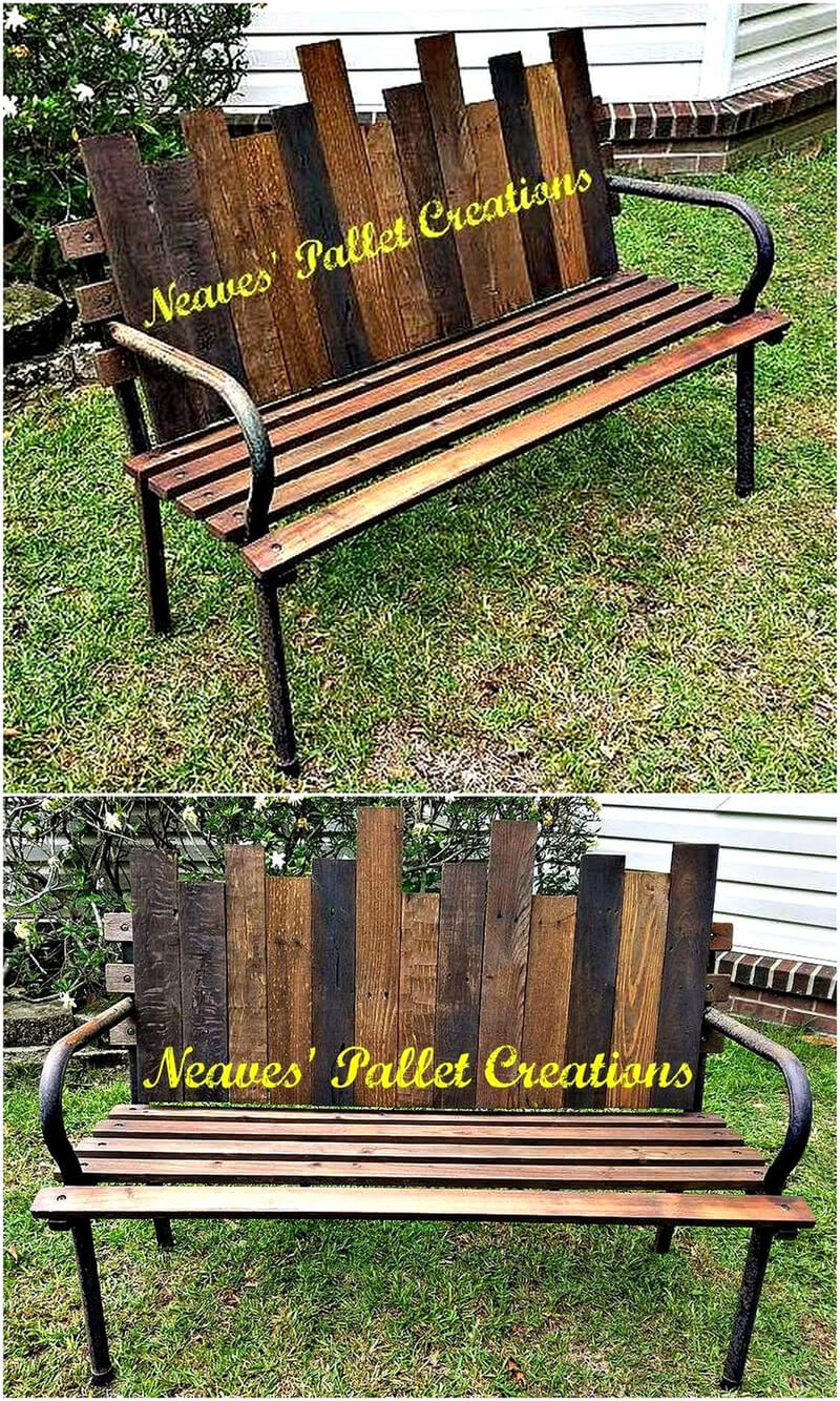 reclaimed wooden pallet garden bench plan