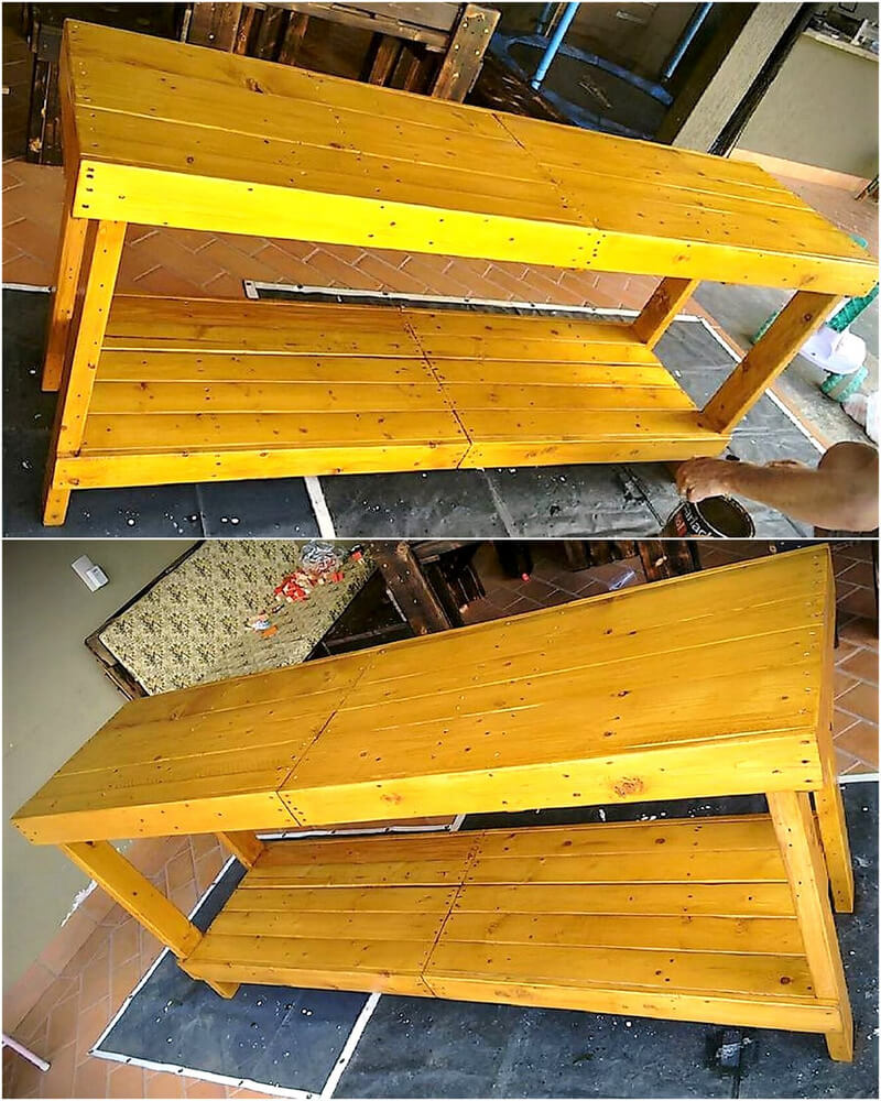 recycled pallets dining table bench