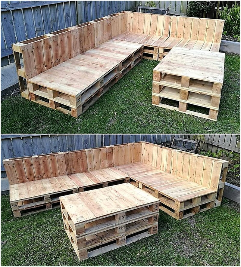 recycled pallets garden corner couch