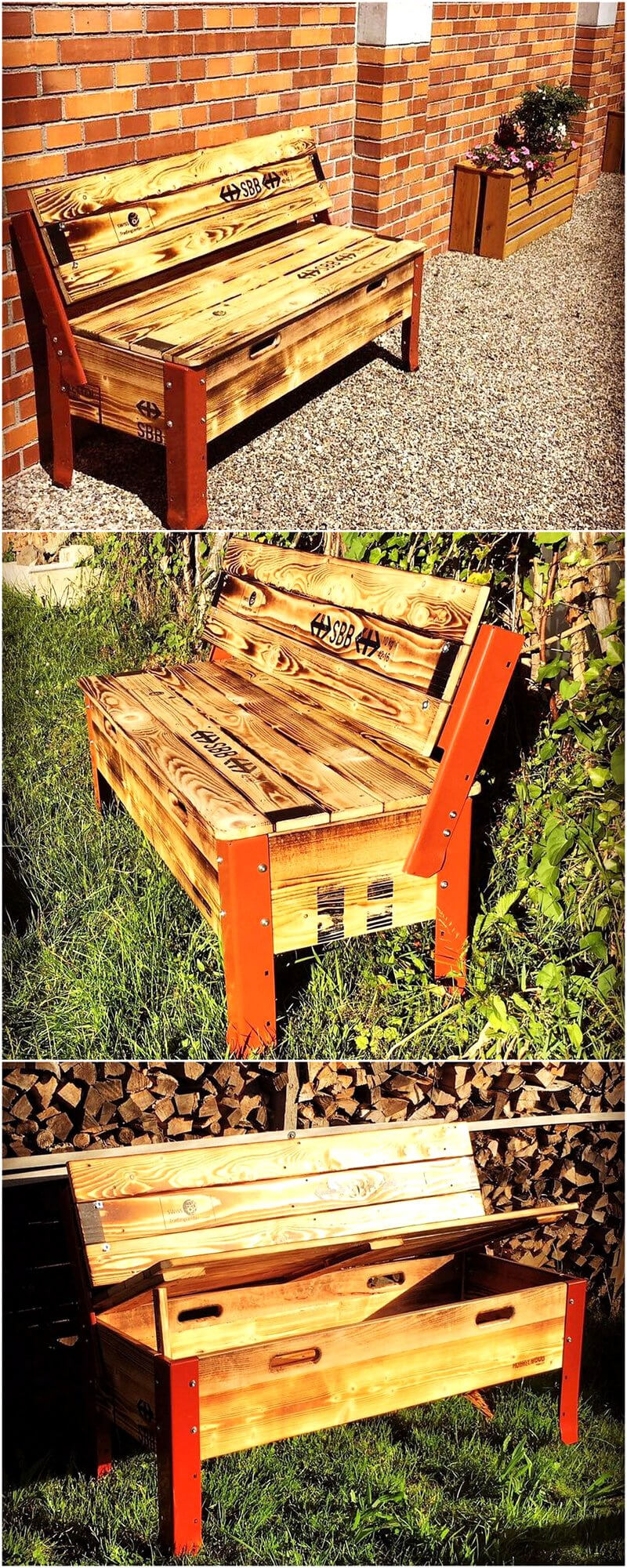 recycled pallets patio bench plan