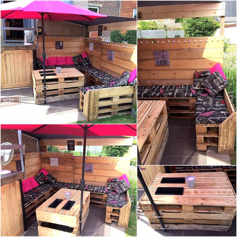 recycled wood pallet garden lounge