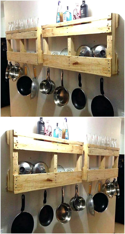 recycled wood pallet kitchen shelf