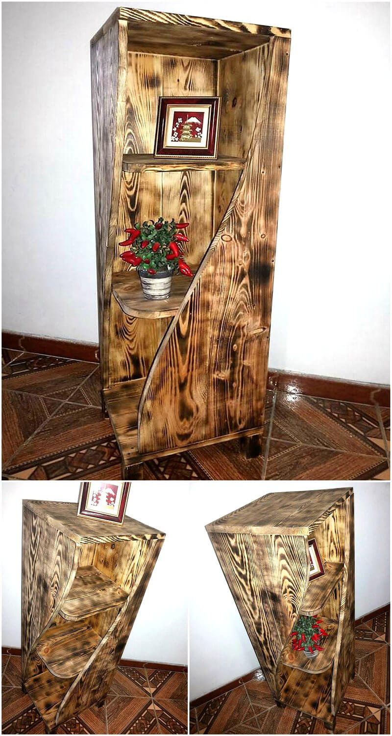 recycled wood pallet side table idea