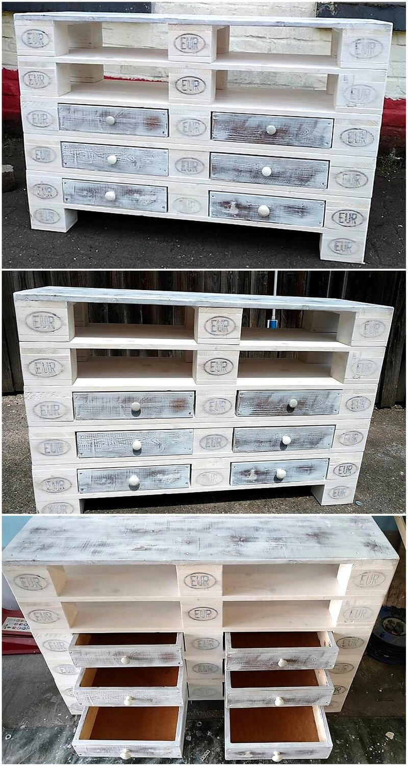 recycled wood pallet sideboard