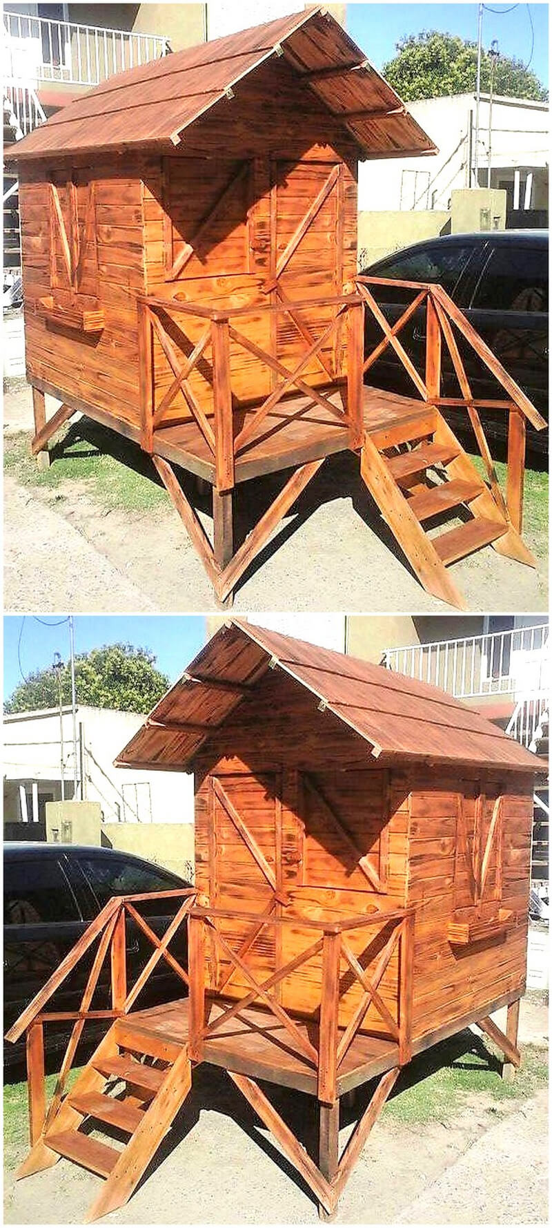 recycled wood pallets play cabin