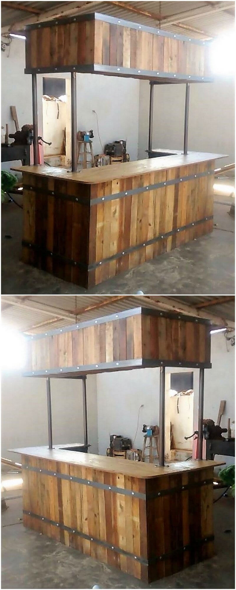 recycled wooden pallet bar project