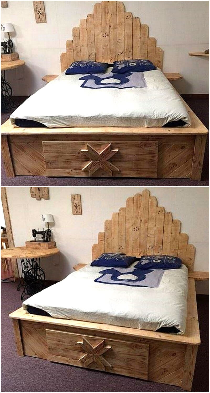 recycled wooden pallet bed plan