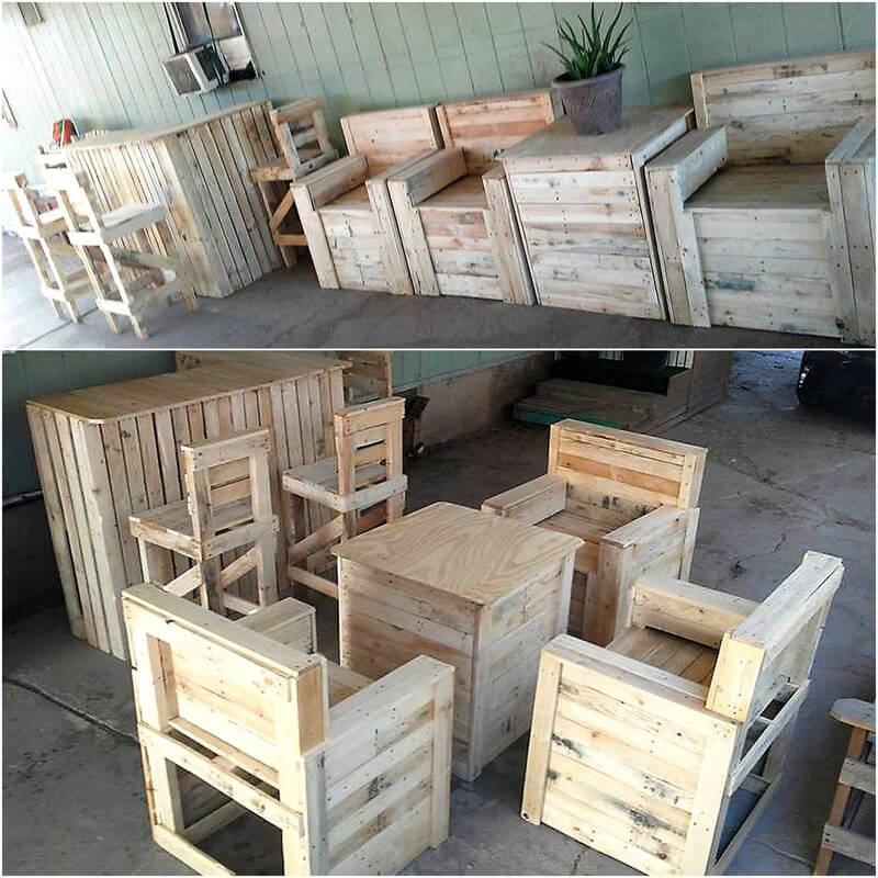 recycled wooden pallet furniture and bar