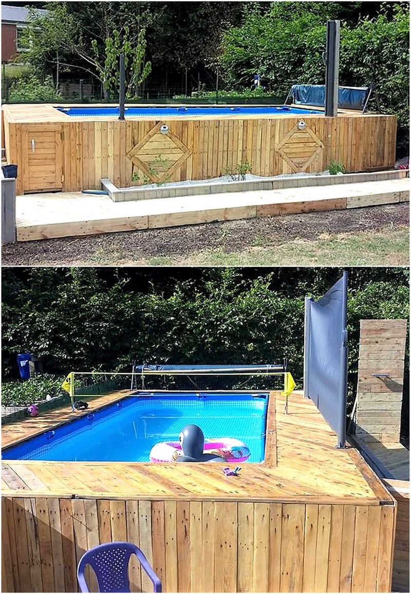 Repurposing projects for used old pallets wood wood for Repurposed swimming pool