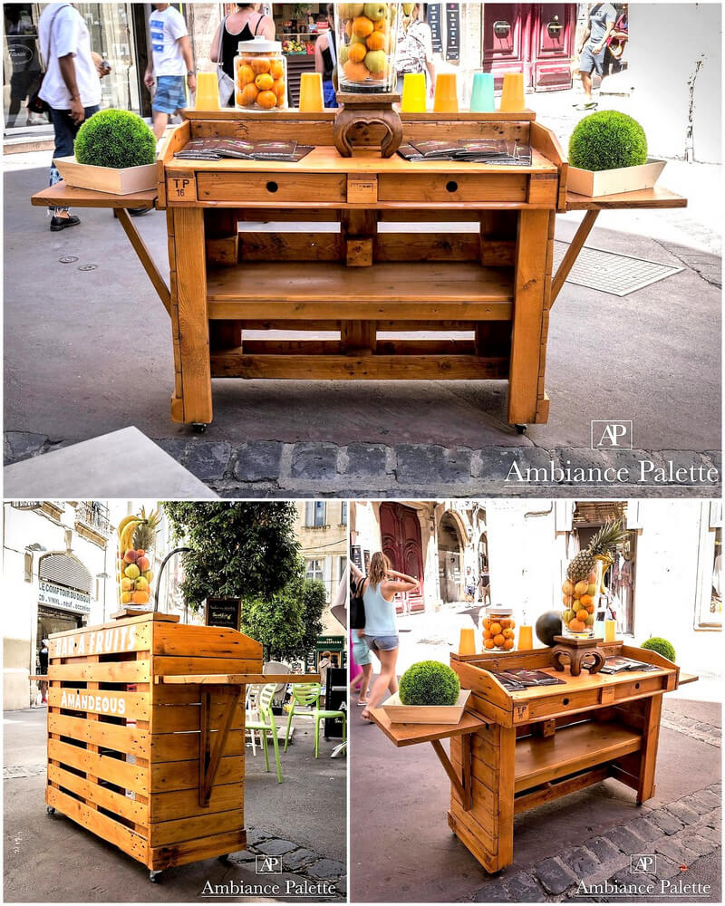 repurposed pallets fruit bar
