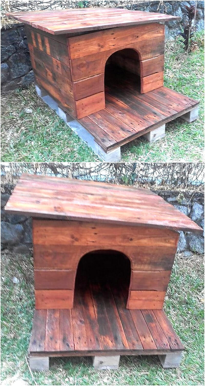 repurposed pallets made dog house