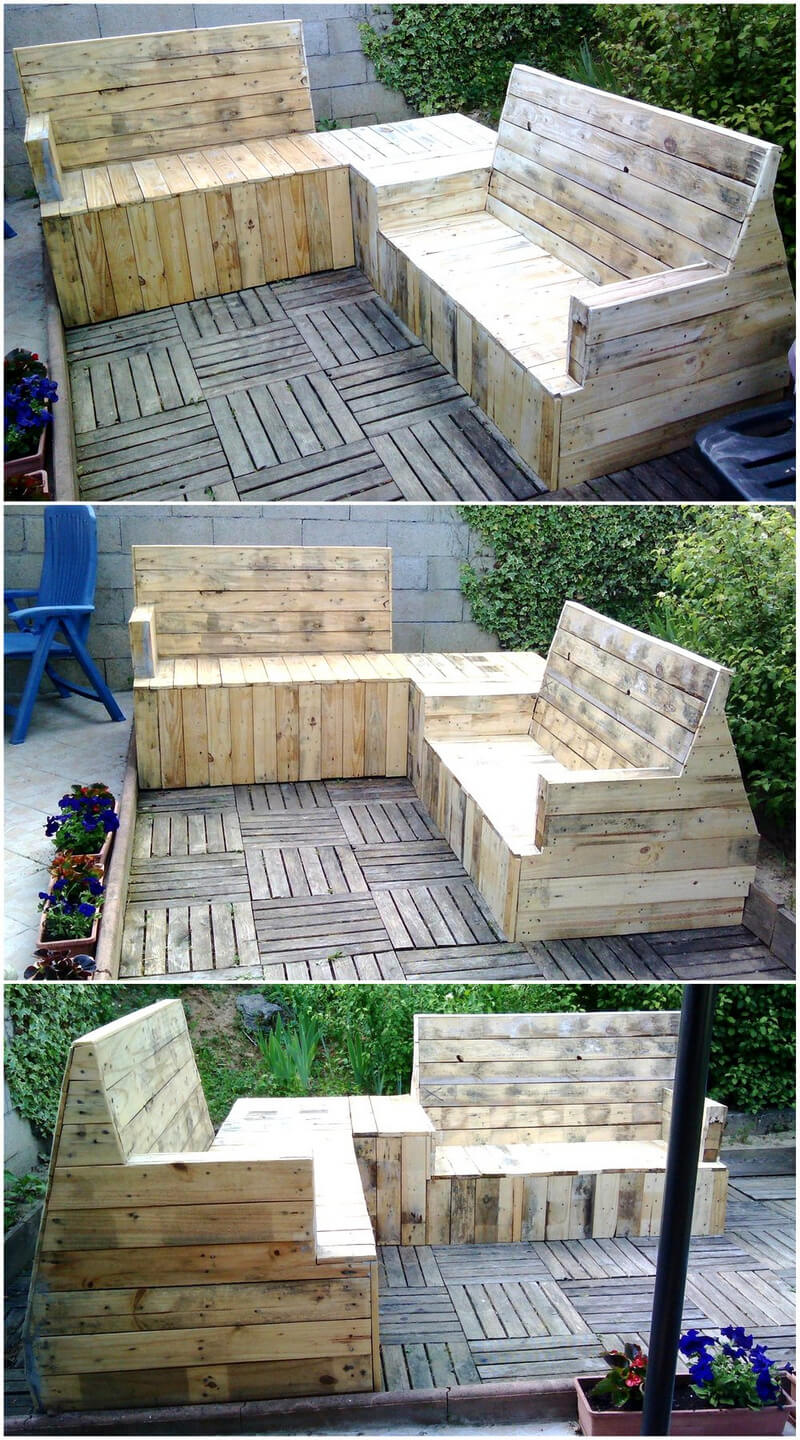 repurposed wood pallet garden lounge