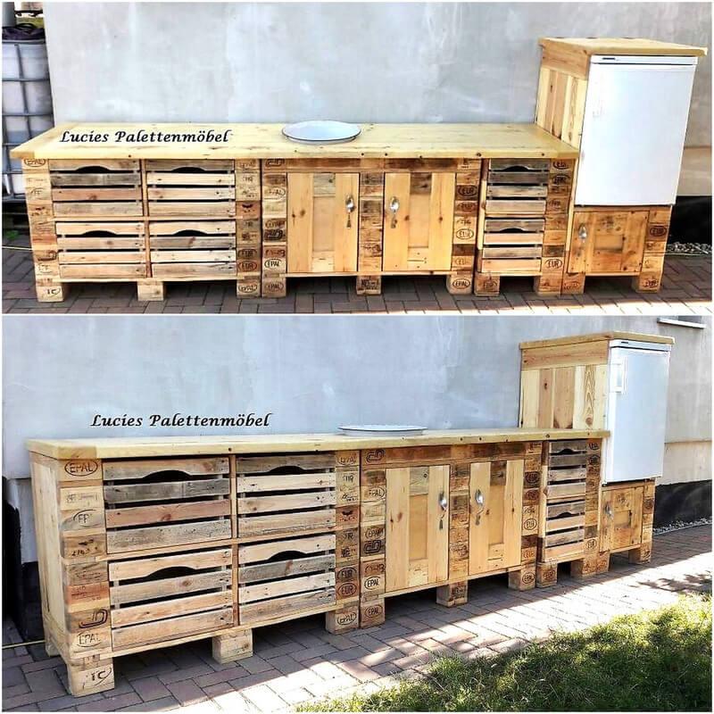 repurposed wood pallet media cabinet