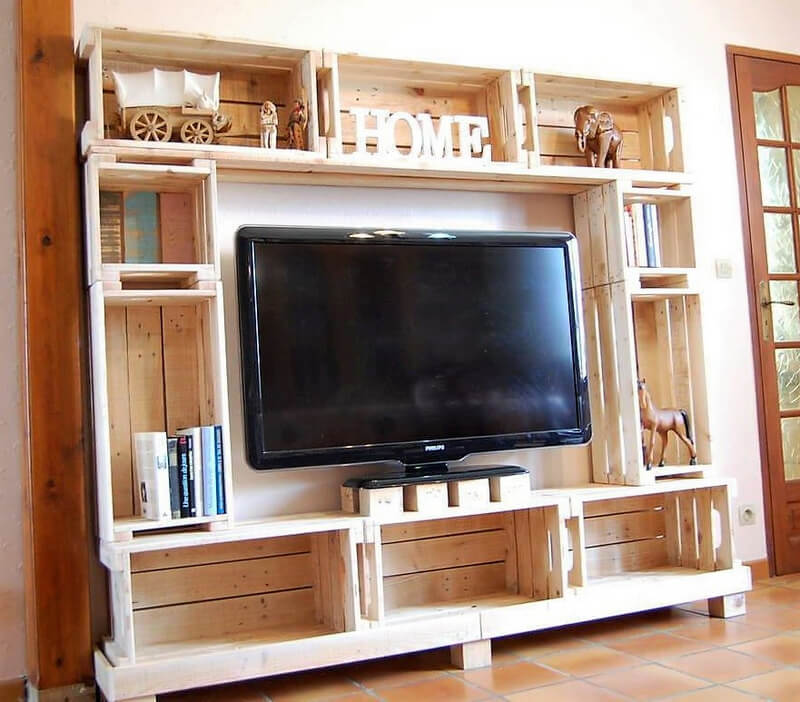 repurposed wood pallet media console