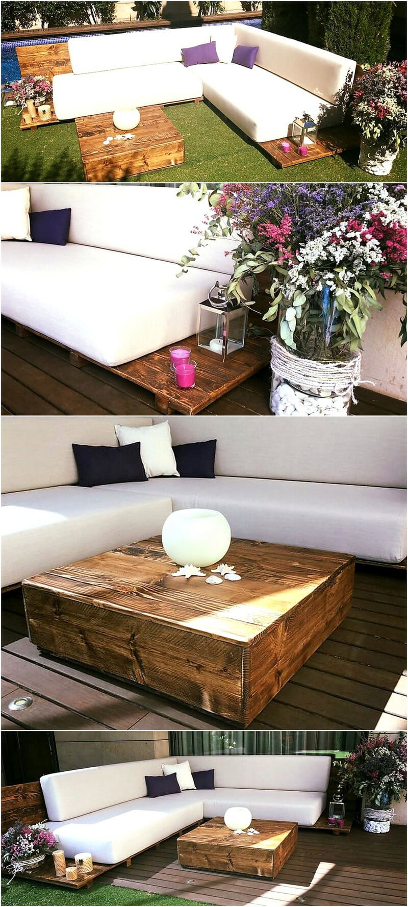 repurposed wood pallet patio garden couch