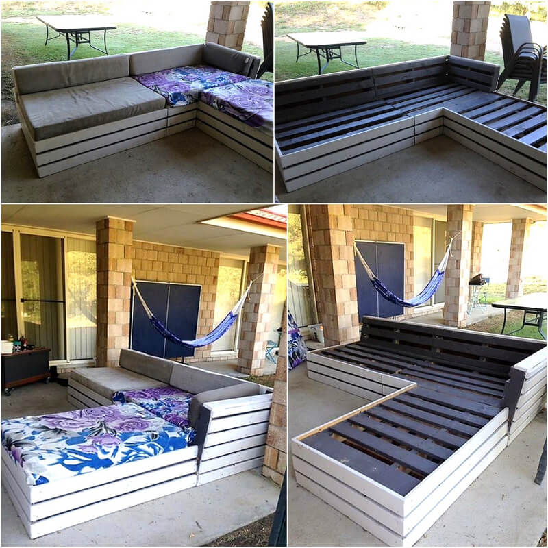 repurposed wood pallets made patio couch