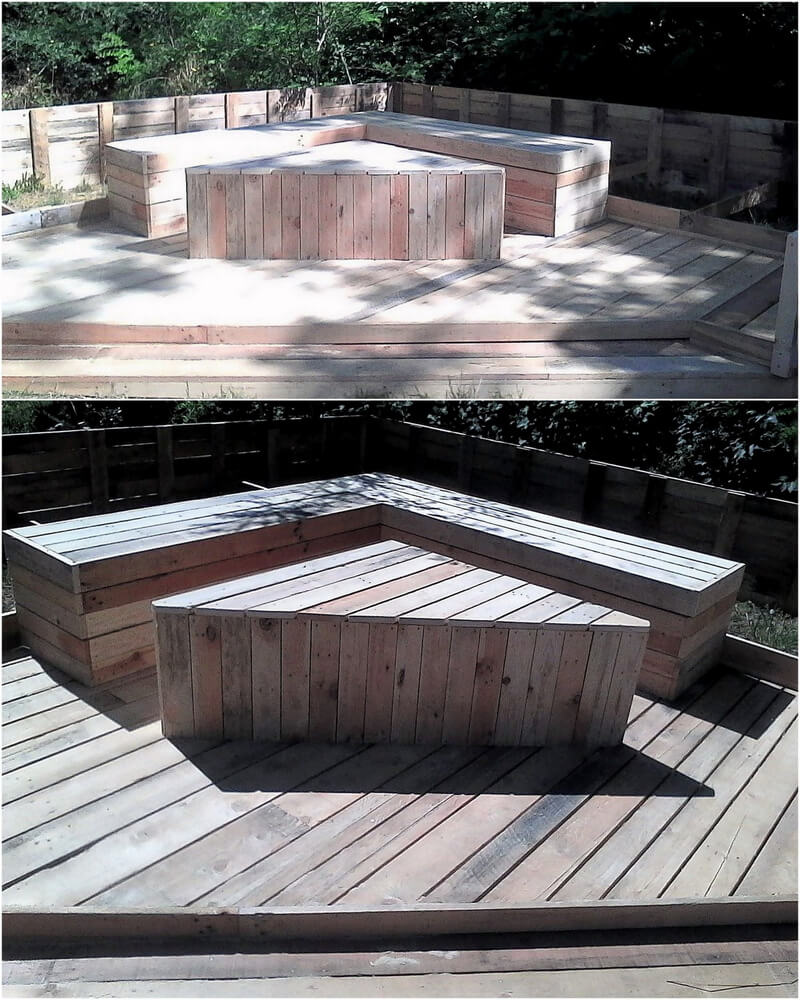 repurposed wood pallets patio lounge