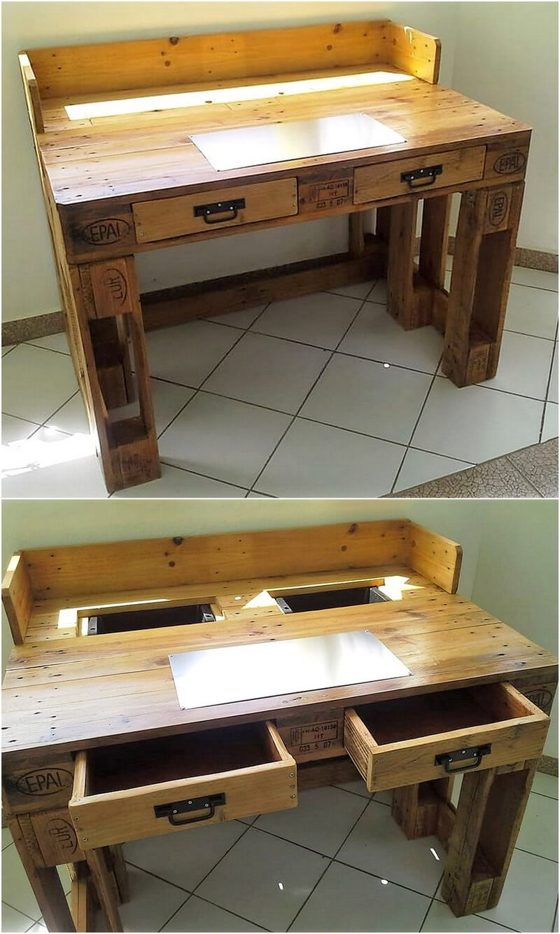 repurposed wooden pallet desk with drawers