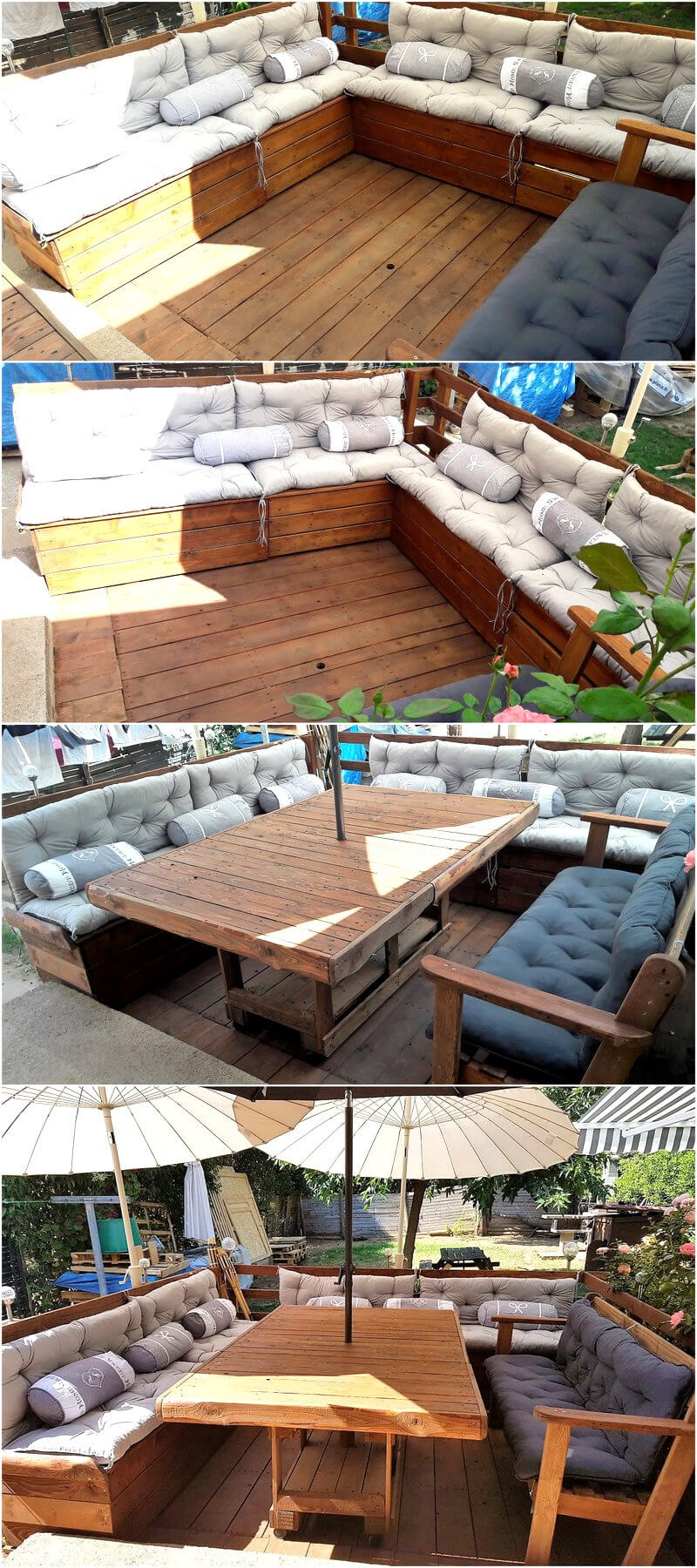 repurposed wooden pallet patio terrace with furniture