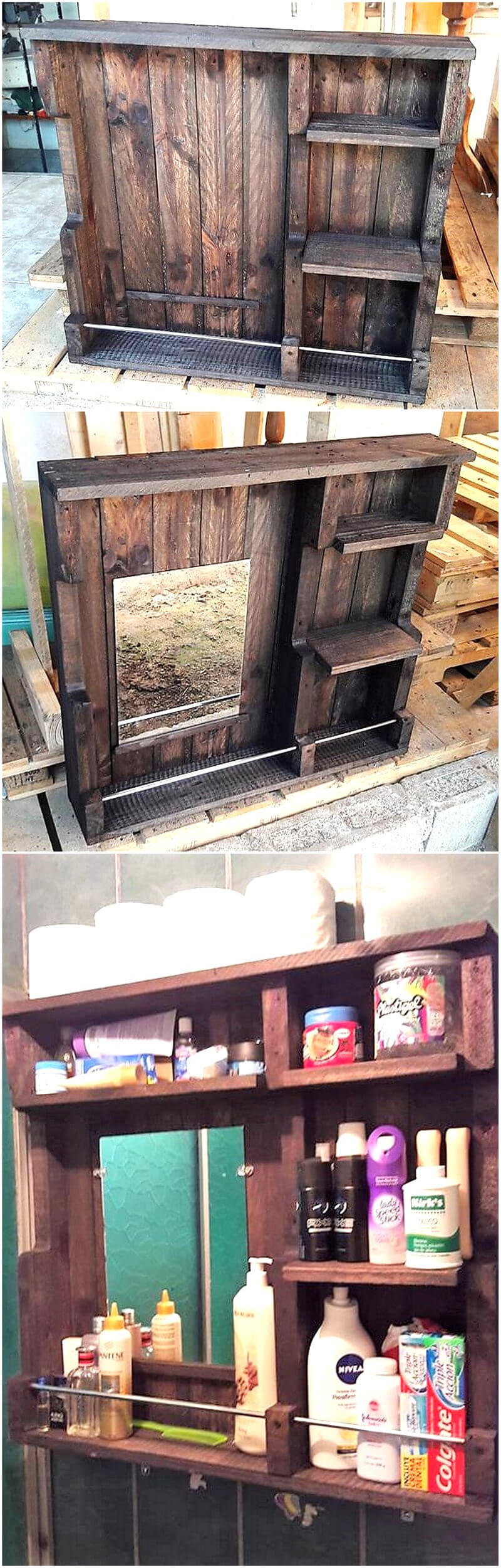 reused pallets mirror with shelving option