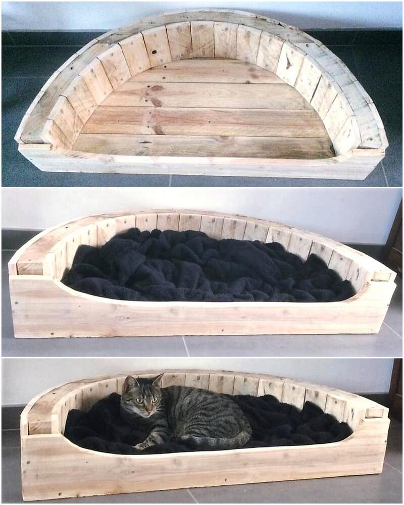 reused wooden pallets cat bed
