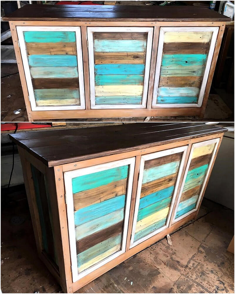 rustic wood pallets cabinet buffet