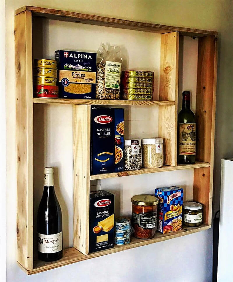 simple kitchen shelving with pallets