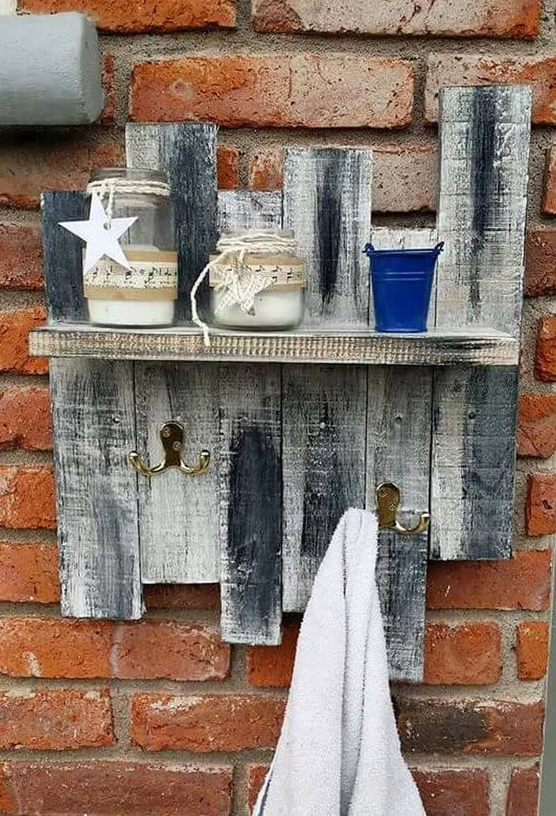 simple rustic shelf with pallets