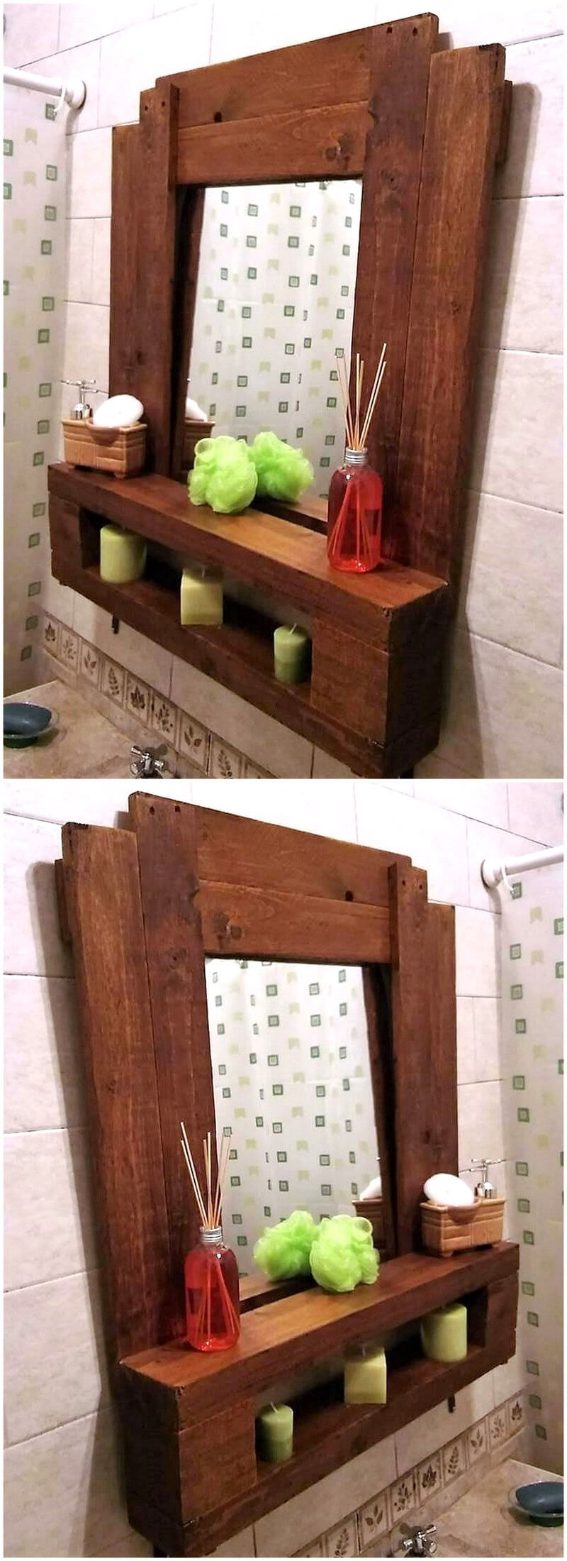 simple wood pallet mirror and shelving
