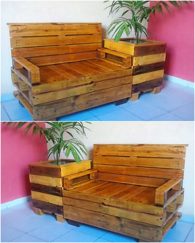 wood pallet bench with planter