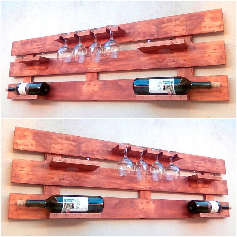 wood pallet bottles and glass rack
