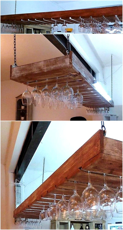 wood pallet glass hanger in bar